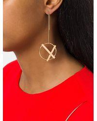 Eshvi - Metallic Cross Circle Earrings - Lyst