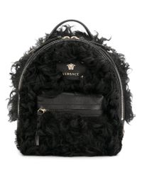 Versace - Black Textured Backpack - Lyst