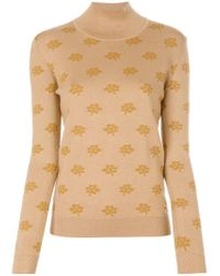 Marni - Brown Floral Intarsia Turtle Neck - Lyst