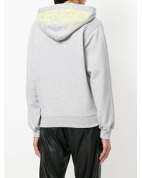 KENZO - Gray Hooded Sweat Jacket - Lyst