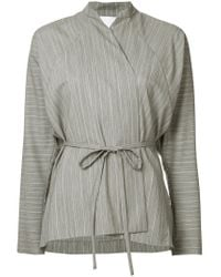 Christopher Esber - Gray Striped Wrap Blouse - Lyst
