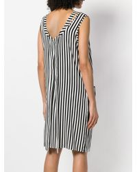 FEDERICA TOSI - Black Striped Asymmetric Shift Dress - Lyst
