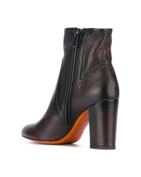 Santoni - Brown Chunky Heel Ankle Boots - Lyst