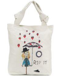 John Galliano - White Rip It Print Shoulder Bag - Lyst
