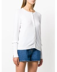 Liu Jo - White Frill Sleeve Cardigan - Lyst