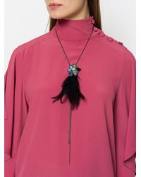 Lanvin - Metallic Jewelled Feather Necklace - Lyst