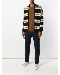 Laneus - Black Striped Tie Waist Cardigan for Men - Lyst