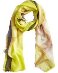 Burberry - Yellow Cashmere Check Scarf - Lyst
