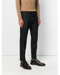 Paolo Pecora - Black Drawstring Pleated Trousers for Men - Lyst