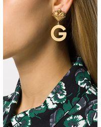 Dolce & Gabbana - Metallic Sacred Heart Logo Earrings - Lyst