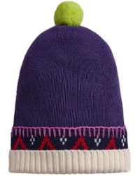 Burberry - Blue Fair Isle Detail Beanie - Lyst