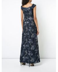 Aidan Mattox - Blue Twist Detail Jacquard Maxi Dress - Lyst
