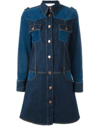 See By Chloé - Blue Paneled Denim Dress - Lyst