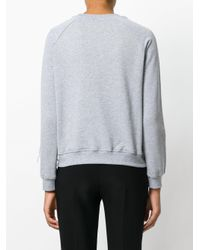 Ainea - Gray Ostrich Feather Trim Embroidered Jumper - Lyst
