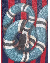 Gucci - Blue Kingsnake Print Striped Clutch for Men - Lyst