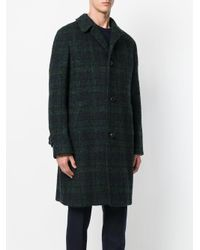 Mp Massimo Piombo - Blue Checked Coat for Men - Lyst
