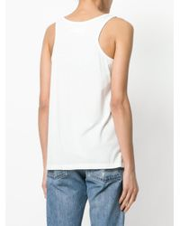 Ash White Embroidered Tank Top