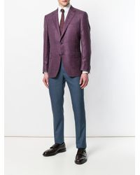 Canali - Purple Button Embellished Checked Blazer for Men - Lyst