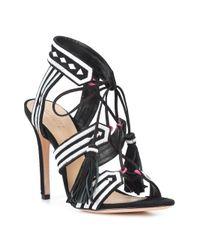 Schutz - Black Patterned Strap Fringe Tie Sandals - Lyst