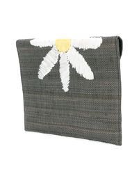 Serpui - Gray Daisy Embroidered Shoulder Bag - Lyst