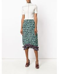 Marni - Black Contrast Printed Skirt With Frill Hem - Lyst
