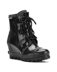 Sorel - Black Joan Rain-wedge Boots - Lyst