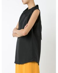 TOME - Black 'charmeuse Asymmetric Collared' Blouse - Lyst