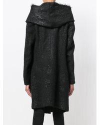 Masnada - Black Furry Hooded Coat - Lyst
