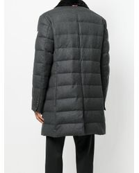 Moncler - Gray Fox Fur Collar Padded Trench Coat for Men - Lyst
