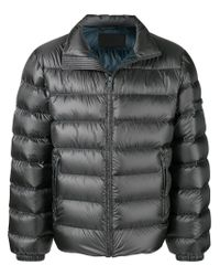 c49d0c5a5 Prada Down Feather Padded Jacket in Gray for Men - Lyst