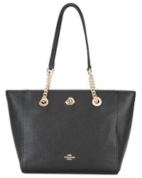 COACH - Black Turnlock Chain Tote - Lyst