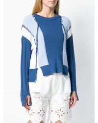 Jonathan Simkhai - Blue Colour Block Linked Rib Sweater - Lyst