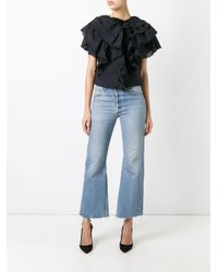 Givenchy - Black Broderie Anglaise Ruffle Trim Top - Lyst