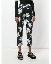 Isa Arfen Black Floral Cropped Trousers