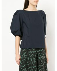WHIT - Blue Puff Sleeve Blouse - Lyst