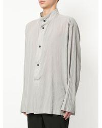 Issey Miyake - Gray Band Collar Shirt for Men - Lyst