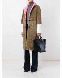 Saks Potts - Brown Contrast-Sleeves Shearling Coat - Lyst