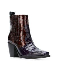 Ganni - Blue Faux Croc Ankle Boots - Lyst
