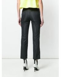 MSGM - Black Straight-leg Cropped Trousers - Lyst