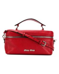 bc51b7df4b63 Lyst - Miu Miu Madras Bucket Bag in Red