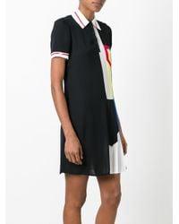Versace - Black Pleated Ribbon Polo Dress - Lyst
