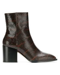 Aeyde - Brown Snake Effect Ankle Booties - Lyst