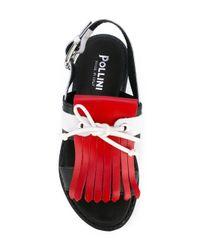 Pollini - Blue Fringed Slingback Sandals - Lyst