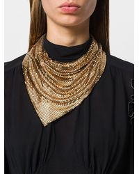 Paco Rabanne - Metallic Asymmetric Ruched Necklace - Lyst