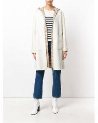 Moncler - Natural Zipped Coat - Lyst