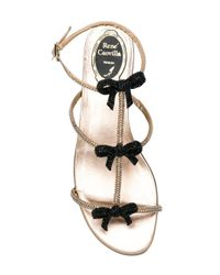 Rene Caovilla - Metallic Embellished Bow Sandals - Lyst