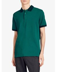 Burberry - Green Knitted Detail Piqué Polo Shirt for Men - Lyst