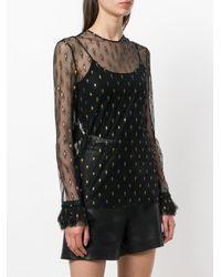 Philosophy Di Lorenzo Serafini - Black Sheer Embroidered Top - Lyst