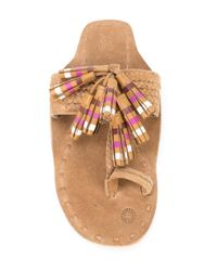 Figue - Brown Striped Tassel Scaramouche Sandals - Lyst