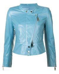 Sylvie Schimmel - Blue Collarless Biker Jacket - Lyst